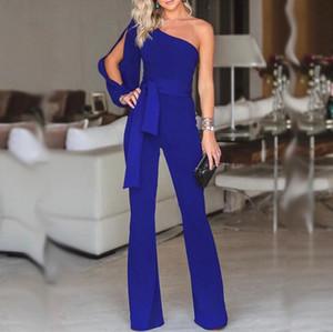 Комбинезоны для женщин Мода женщин Rompers партии Clubwear легкий костюм с шортами комбинезон Wide Leg одно плечо Длинные брюки Брюки