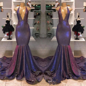 2019 Sparkle Reflective Purple Sequined Prom Dress 리얼 이미지 Deep V 넥 인어 홀터 Long Evening Gowns 저렴한 Vestidos