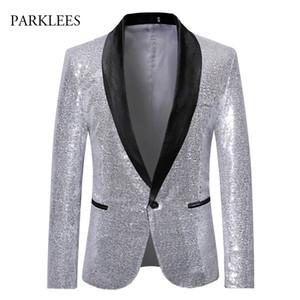 Prata Sequins Homens Blazer sparkle Glitter Stage Execute Mostrar Dance Party Disco Discoteca Blazer Hombre Blazers Homens Ternos