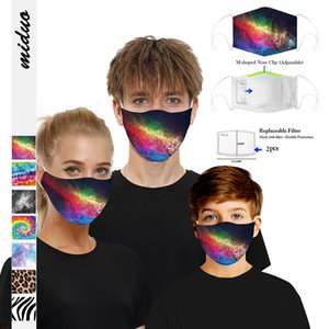 3D Starry Sky Digital Printing Face Mask DustProof PM2.5 Adult Kids Reusable Mask With 5 Layer Synthetic Filter 2 Pieces