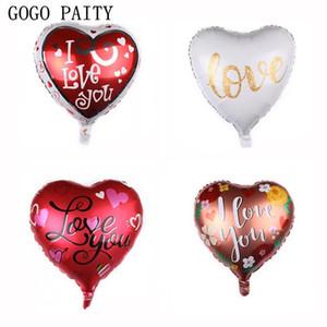 Gogo Paity nuovo 18 pollici a forma di cuore Ti amo Alluminio Palloncino festa di nozze San Valentino palloncino bianco di alta qualità