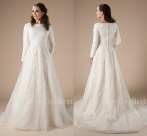 Modest garden Wedding Dresses With Long Sleeves A-line Beaded Lace Applique Temple LDS bridal Gown Couture