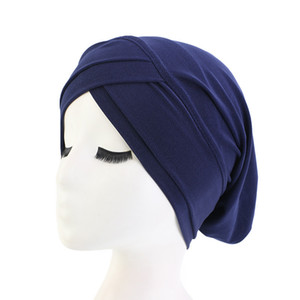 Women Hair Loss Scarf Elastic Lady Cancer Chemo Cap Muslim Turban Hat Arab Head Wrap Cover Beanie Headwear Skullies Solid Color