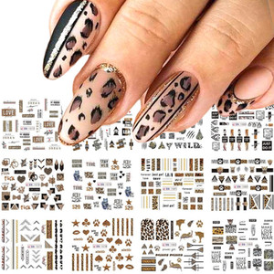 12pcs Leopard lettere Nail Sticker trasferimento Sliders decalcomanie dell'acqua sexy Animali Nail Art Tattoo sventa manicure involucri TRBN1573-1584