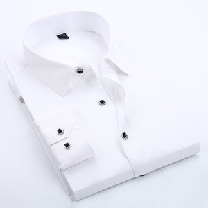 2017 New Brand Cuff Button Mens Dress Shirts Classic Long Sleeve Brand Shirt For Cufflinks Camisa