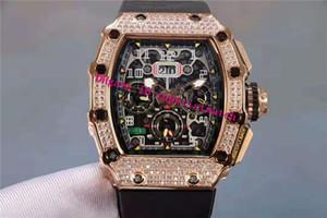 Top RM11-03 Diamante Mens Watch Tonneau Rose Gold Mens svizzero meccanico automatico 28800 VPH manopola di scheletro Zaffiro Impermeabile