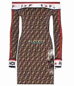 high end kadın kız rahat örgü elbiseler mektup baskı slash boyun uzun kollu splice etek 2020 moda lüks tasarım gevşek bir çizgi elbise