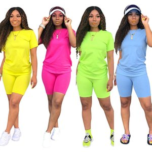 Women 2 piece sports set stylish summer clothing pure color T-shirt crew neck pullover short sleeve shorts above knee bodycon leggings 2020