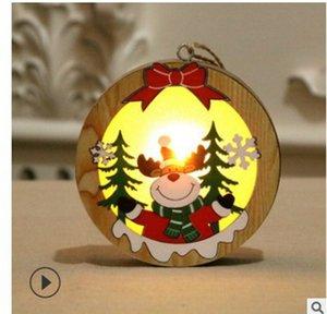 LED Chalet en bois de Noël Pendentif Lighted Cadre ronde en bois Étoile lampe lumineuse Arbre de Noël Ornement Pendentif Decoratio LJJA3531