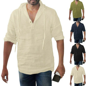 Мужская футболка Багги хлопок белье Твердые кнопки Плюс размер с длинным рукавом с капюшоном Топы Мужской рубашки Мужская одежда