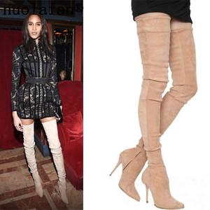 das mulheres Faux Suede couro botas sobre o joelho de Inverno Sapatos Mulher sapatos de salto alto mulheres Coxa alta Motos Botas Ladies Shoe
