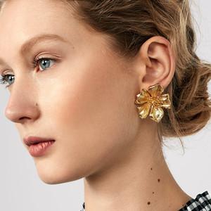 Dvacaman Big Or Métal Couleur Fleur Boucles d'oreilles pour les femmes Trendy Champagne Cristal Boucles d'oreilles Déclaration Pendients Cadeaux Bijoux