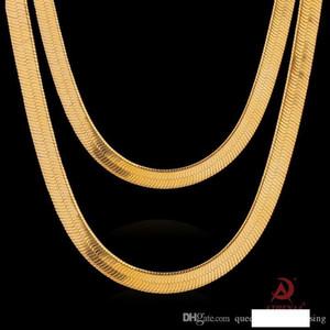 FRESCO pesada 18K Amarillo Oro laminado ENLACE DE LOS HOMBRES 7,5 mm cadena collar ancho de 60 cm de largo 100% real Oro Y # 161
