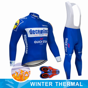 2019 Pro Team QUICK STEP Cycling Jersey 9D Bib Set Belgium Bike Clothing Mens Winter Thermal Fleece Bicycle Clothes Cycling Wear