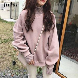 Jielur Kore Stil Büyük Boy Kapüşonlular Kadın Kış Sahte İki adet Turtleneck Kadın Kazak Gevşek Kalın Fleece Kazaklar T200407