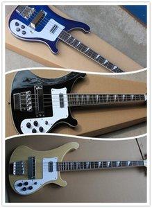 검은 색 푸른 자연 릭 4003 듀얼 입력 4 문자열 전기베이스 기타 복식 다울 입력 잭 모노 스테레오