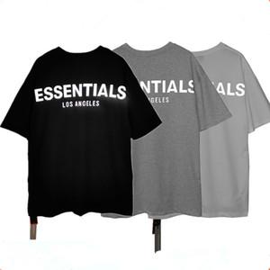 Mens Designer camiseta Essentials reflexivo de manga curta em torno do pescoço Moda Sólidos T-shirt com 3 cores Asiático Tamanho S-XL