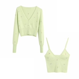 Vintage women elegant knitted tops set 2020 summer slim sweaters set casual female bomb two piece set sweater girl chic knitwear