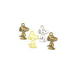 50 adet / paket Köpek Charms DIY Takı Yapımı Kolye Fit Bilezikler Kolye Küpe El Yapımı El Sanatları Gümüş Bronz Charm