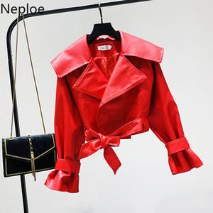 Neploe 2019 Yüksek Bel Kısa Pu Deri Ceket Uzun Kollu Yaka Red Coat Sonbahar Moda İnce Ceketler Kabanlar 55087 Turn Down