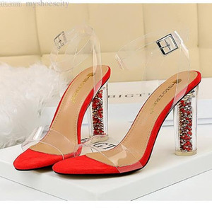 size 35 to 42 43 glitter transparent PVC high heel clear shoes bridal wedding shoes sexy women designer sandals shoes
