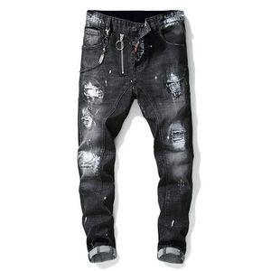 Известные торговые марки Конструктор Мужские джинсы рваные джинсы Blue Rock Star Mens Комбинезон Дизайнер Denim Male Брюки