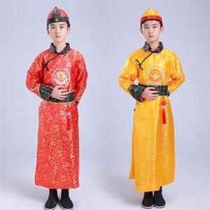 Costume traditionnel chinois antique dynastie Qing hanfu Roi Imprimer Wang Ye dragon long Manchu Halloween garçons Nouvel An Vêtements
