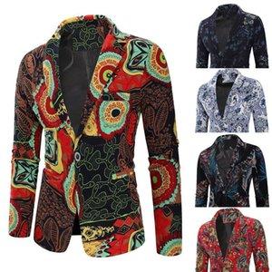 Chaquetas Hombre Marca 2019 jaqueta masculino para hombre de la vendimia étnico Traje vestido impreso floral Slim Fit chaqueta de la chaqueta M-3XL cinco colores