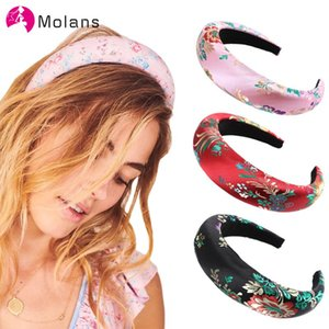 MOLANS Retro Embroidery Floral Headbands Glitter Satin 2cm Thick Padded Sponge Headband for Women Wide Hair Hoops Headbands