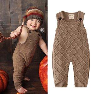 Ins Knitting calças bebê suspensórios bebê romper recém-nascido macacão infantil Macacão recém-nascidos One Piece Roupa do bebé roupas B848 varejo
