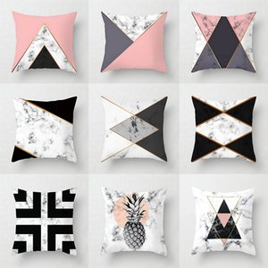 Pillow Case Pink Geometric Abstract Decorative Pillows Case Marble Pattern Flower Designer White and Black Grey Cheap Cus