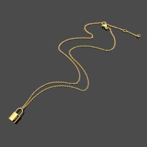 Лучший подарок любовника роскошные ювелирные изделия ожерелье розовое золото замок кулон дизайнерское ожерелье 18K золото тонкая цепочка Леди серебряные ожерелья