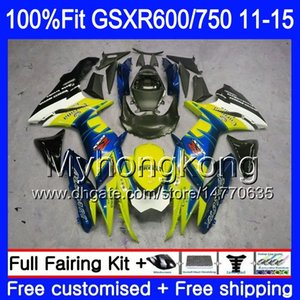 Injection bleu HOT Pour SUZUKI GSXR 600 750 GSXR750 11 12 13 14 15 16 298HM.12 GSXR600 K11 GSXR600 2011 2012 2013 2014 2015 2016 Carénage