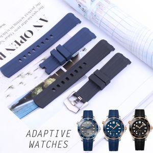 20 mm bracelet de montre bandes homme bleu caoutchouc noir silicone étanche Bracelet watchbands Boucle déployante Omega Nouveau 300 Outils Curved End