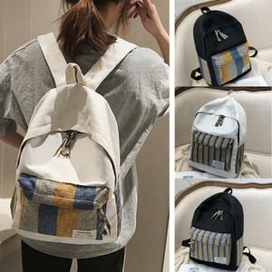 2019 Mulheres Homens Stripe Mochila Canvas moda de alta qualidade Youth Travel Mochilas Para Meninas Adolescentes Escola Shoulder Bag Bagpack