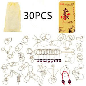 1-30 pçs / set Metal Wire Puzzle Iq Mente Cérebro Teaser Puzzles Jogo Adultos Crianças Crianças Montessori Early Educational Toys Um Presente