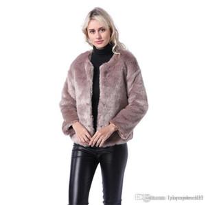Mulheres Faux Fur Coats Moda Outono Inverno New Arrival Tripulação Designer Neck casaco quente Moda mulheres Coats