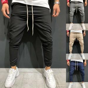 2019 Erkek Casual Slim Fit Eşofman Spor Sıska Koşu Joggers Ter Pantolon Pantolon Sweatpants Siyah Mavi Gri Yeşil Haki