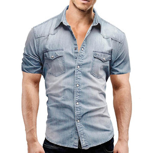 Denim Shirt Men Casual Slim Fit Button Chemise avec Chemisier de poche à manches courtes hommes Camisa Social Tops Chemisier