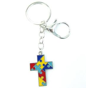 Smalto di alta qualità Cross Autism Charm Portachiavi Colorful Autismo Consapevolezza Jigsaw Puzzle Pezzi Portachiavi Portachiavi Gioielli