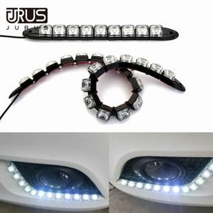 Джурус 2X 6-20 Светодиоды автомобилей COB LED Strip 12V Противотуманные фары дальнего света DRL Flexible дневного света Car-Styling АВТОТОВАРЫ