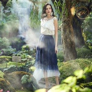 QA25101C artka Primavera Verano 2020 nuevo de las mujeres de la falda elegante malla de degradado Faldas elásticos de la cintura de la falda irregular rizado largo