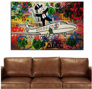 Alec Monopoly Herr Brainwash Ölgemälde auf Leinwand Graffiti-Kunst Flugzeug-Wand-Kunst-Ausgangsdekor Handpainted HD Print 191008