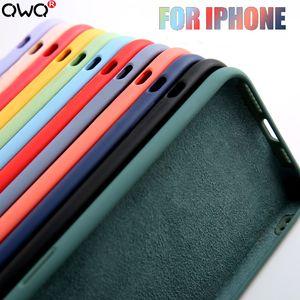Funda de lujo de silicona líquida Original para carcasa Apple iPhone 11 Pro Max 7 8 6 6S Plus XR X XS MAX 5 5S SE 2020 funda trasera a