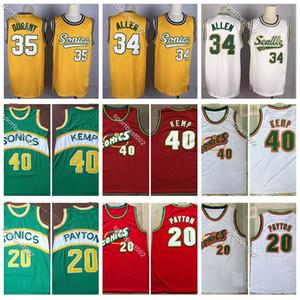 Mens retro El Guante Gary Payton 20 Vintage Ray Allen 34 Reinado hombre Shawn Kemp 40 jerseys de la vuelta de baloncesto