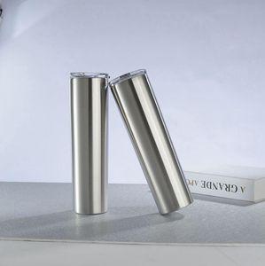 30oz Skinny Tumbler Straight Stainless Steel Coffee Mug Vacuum Insulated Wine Glass Travel Car Cup OOA7969
