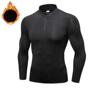 Hombres de la aptitud T-shirts soporte sólido de cuello largo de Deportes casquillo de trayecto Pullover elástico transpirable grueso Gimnasio Tops para hombre de las camisas ocasionales