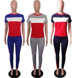 Letter Impreso Tacksuit Verano Mujer Camiseta Camiseta Pantalones 2 unids / Fijos de manga corta Traje de chándal Tops Tops Outfit Set OOA6561