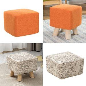 4pcs Coton Lin place Tabouret Seat Covers élégant carrée Tabouret Slipcovers Ottoman Couverture 2xOrange, 2xBeige-28x28x18cm