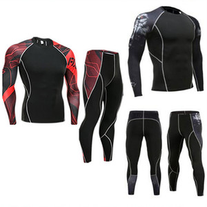 Compression Homme Costume Fitness Survêtement Vêtements de marque 3d imprimé Crossfit Jambières T-shirt 2pc Set Sous-vêtements thermiques S-4XL